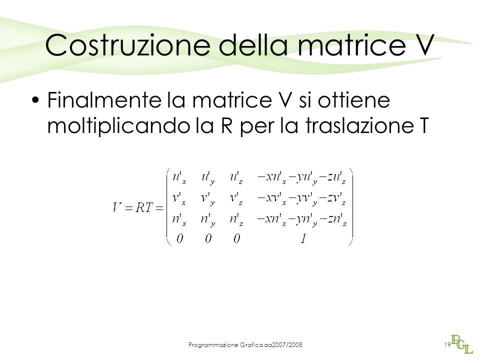 Programmazione Grafica aa2007/200819 Costruzione della matrice V Finalmente la matrice V si ottiene moltiplicando la R per la traslazione T