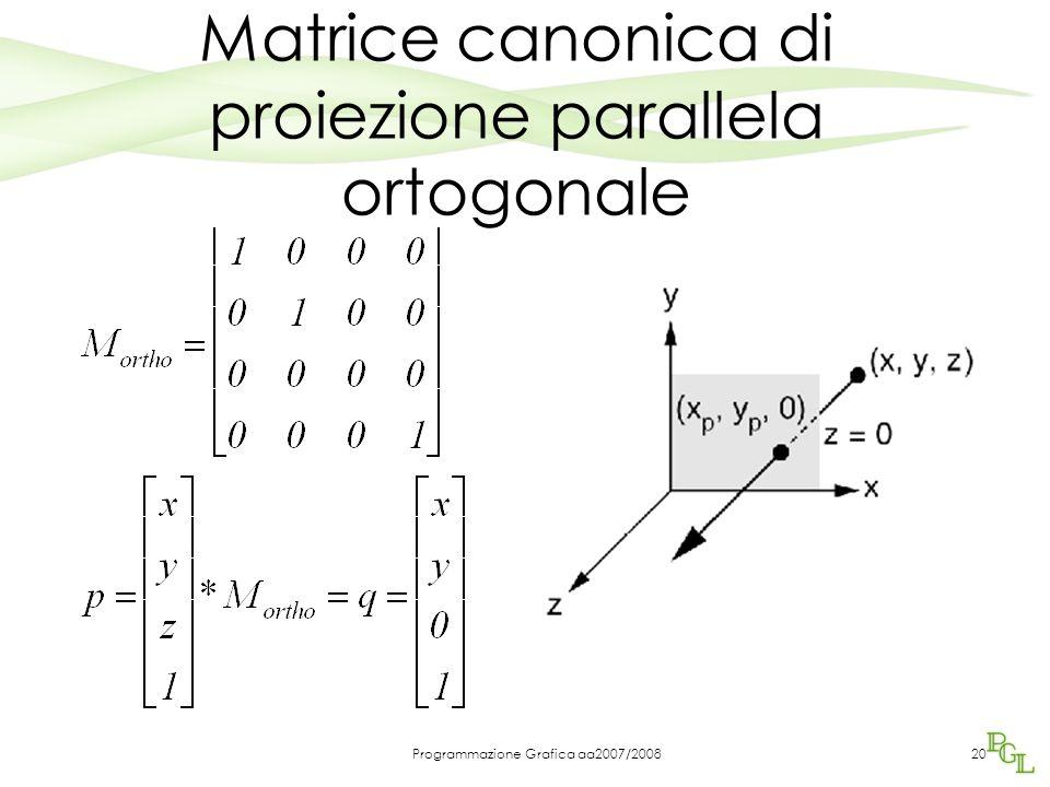 Programmazione Grafica aa2007/200820 Matrice canonica di proiezione parallela ortogonale