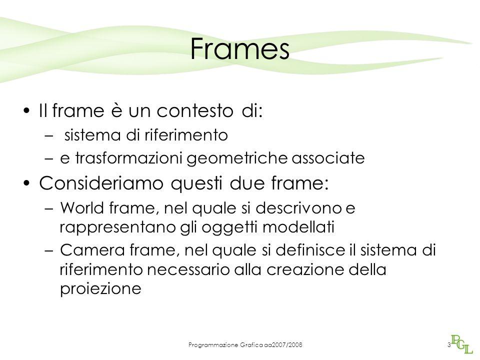 Programmazione Grafica aa2007/20083 Frames Il frame è un contesto di: – sistema di riferimento –e trasformazioni geometriche associate Consideriamo qu