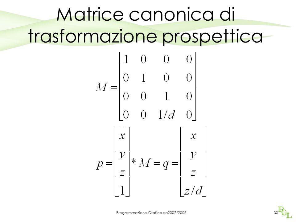 Programmazione Grafica aa2007/200830 Matrice canonica di trasformazione prospettica