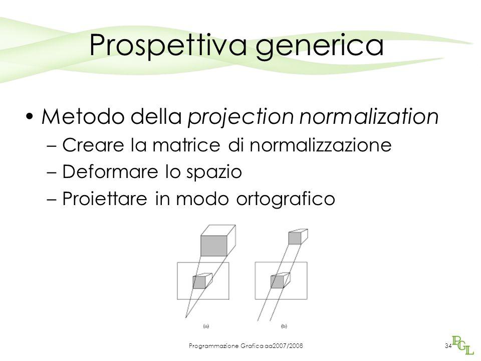 Programmazione Grafica aa2007/200834 Prospettiva generica Metodo della projection normalization –Creare la matrice di normalizzazione –Deformare lo sp