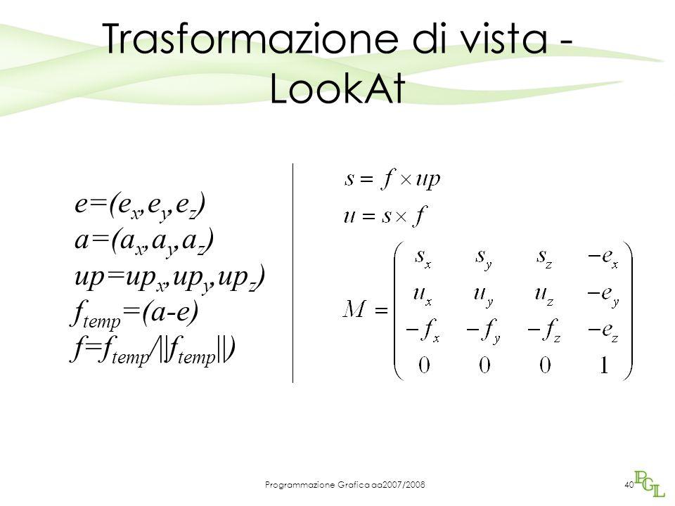 Programmazione Grafica aa2007/200840 Trasformazione di vista - LookAt e=(e x,e y,e z ) a=(a x,a y,a z ) up=up x,up y,up z ) f temp =(a-e) f=f temp /||