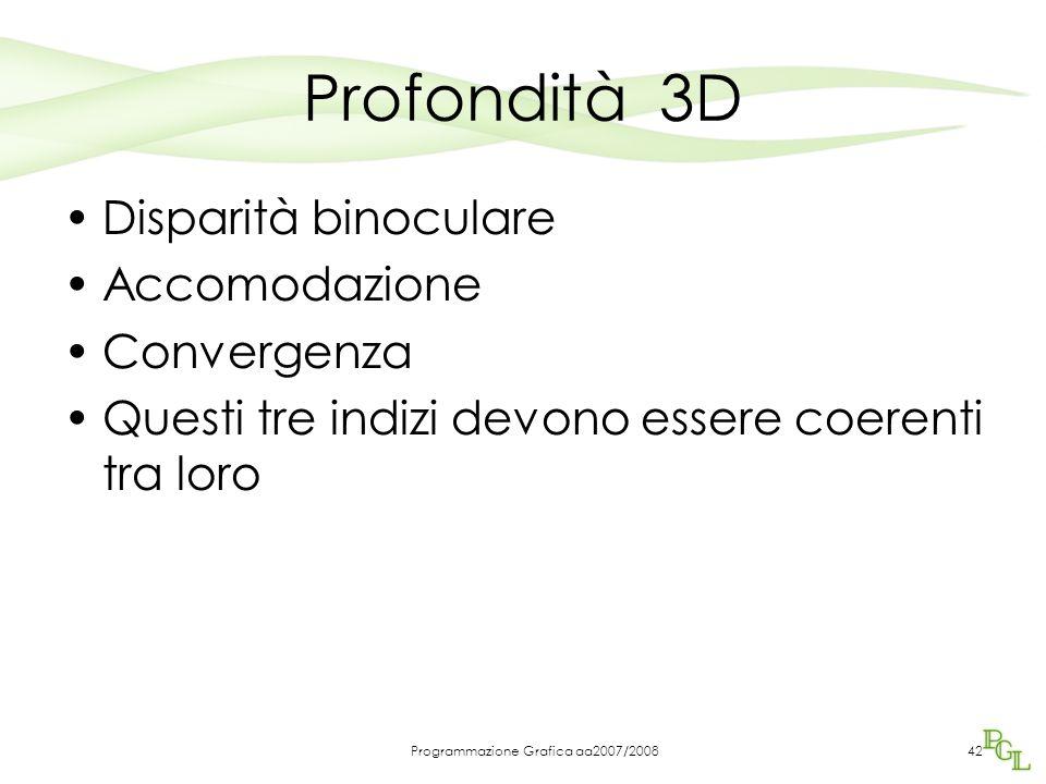 Profondità 3D Disparità binoculare Accomodazione Convergenza Questi tre indizi devono essere coerenti tra loro Programmazione Grafica aa2007/200842