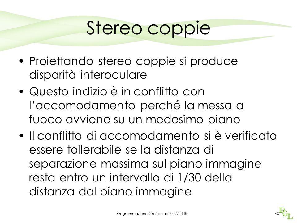 Stereo coppie Proiettando stereo coppie si produce disparità interoculare Questo indizio è in conflitto con l'accomodamento perché la messa a fuoco av