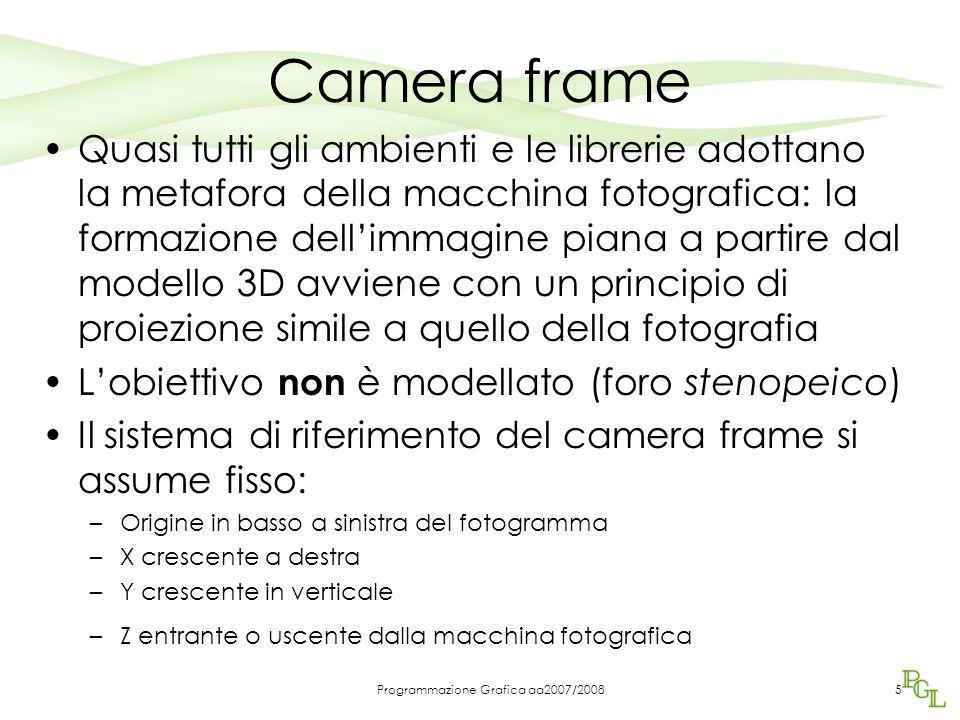 Programmazione Grafica aa2007/20085 Camera frame Quasi tutti gli ambienti e le librerie adottano la metafora della macchina fotografica: la formazione
