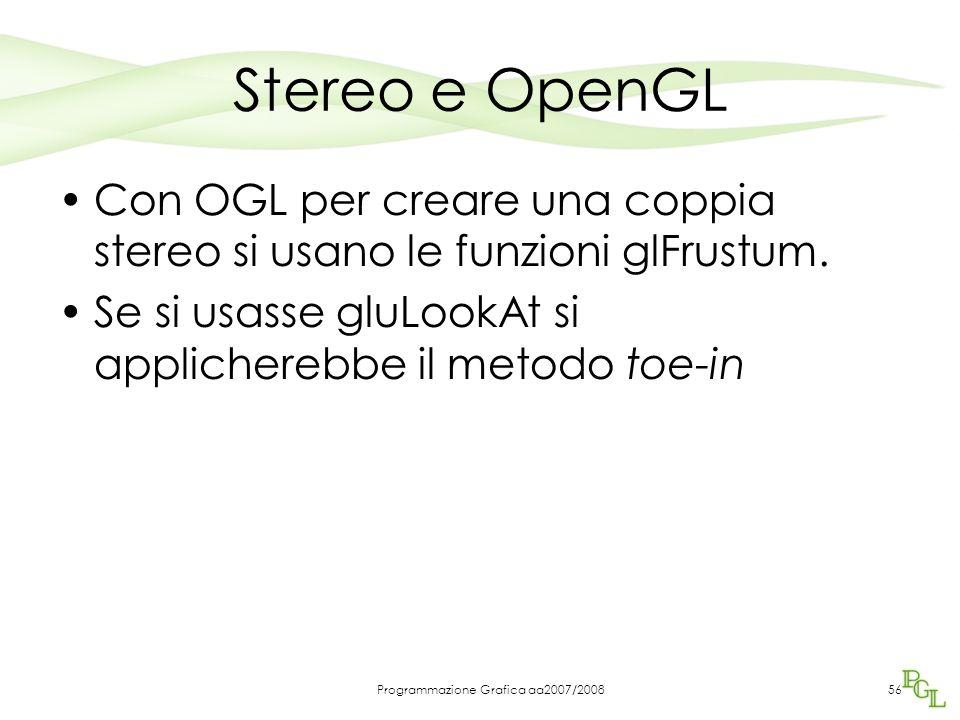 Stereo e OpenGL Con OGL per creare una coppia stereo si usano le funzioni glFrustum. Se si usasse gluLookAt si applicherebbe il metodo toe-in Programm