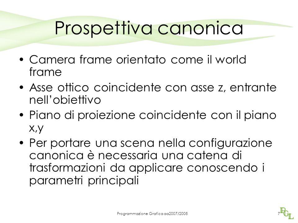 7 Prospettiva canonica Camera frame orientato come il world frame Asse ottico coincidente con asse z, entrante nell'obiettivo Piano di proiezione coin