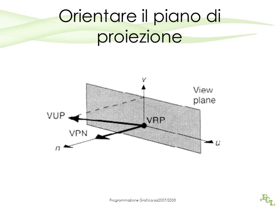 Programmazione Grafica aa2007/20089 Orientare il piano di proiezione