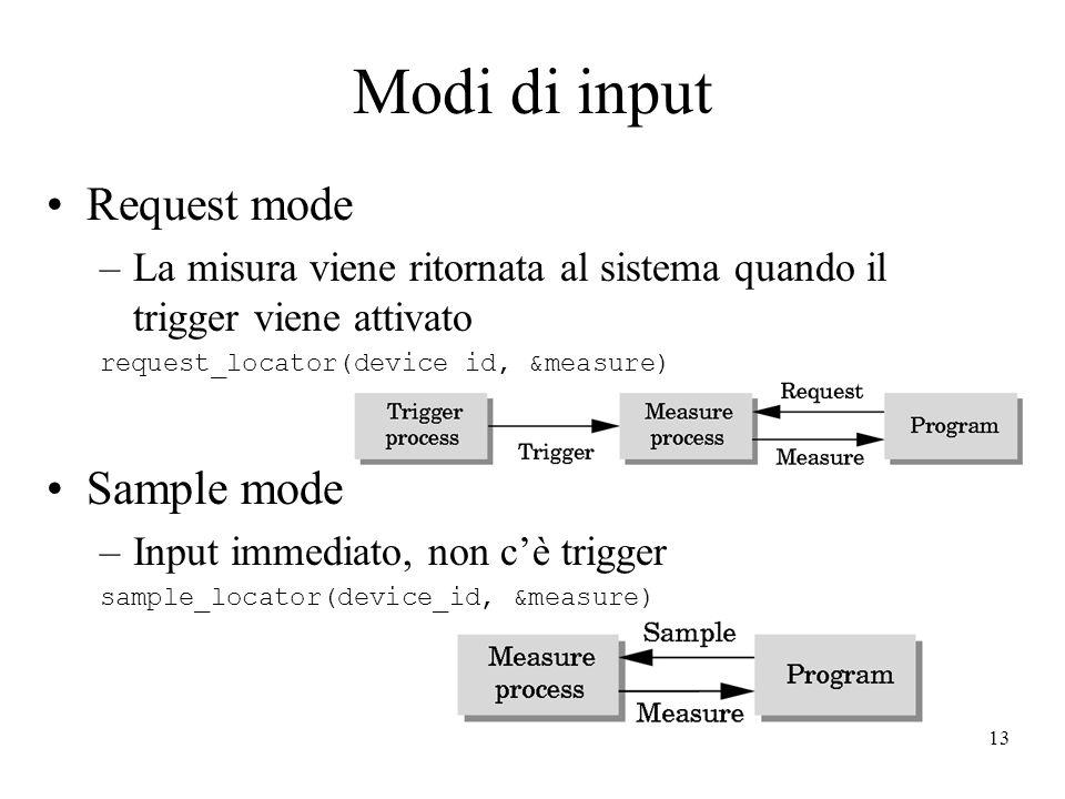 13 Modi di input Request mode –La misura viene ritornata al sistema quando il trigger viene attivato request_locator(device_id, &measure) Sample mode –Input immediato, non c'è trigger sample_locator(device_id, &measure)