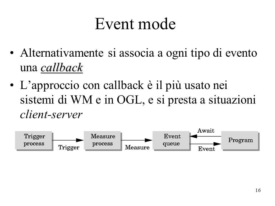 16 Event mode callbackAlternativamente si associa a ogni tipo di evento una callback L'approccio con callback è il più usato nei sistemi di WM e in OGL, e si presta a situazioni client-server