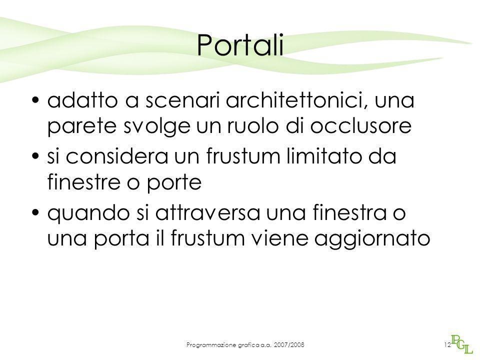 Portali adatto a scenari architettonici, una parete svolge un ruolo di occlusore si considera un frustum limitato da finestre o porte quando si attraversa una finestra o una porta il frustum viene aggiornato 12Programmazione grafica a.a.