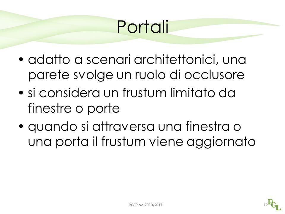 Portali adatto a scenari architettonici, una parete svolge un ruolo di occlusore si considera un frustum limitato da finestre o porte quando si attraversa una finestra o una porta il frustum viene aggiornato 12PGTR aa 2010/2011