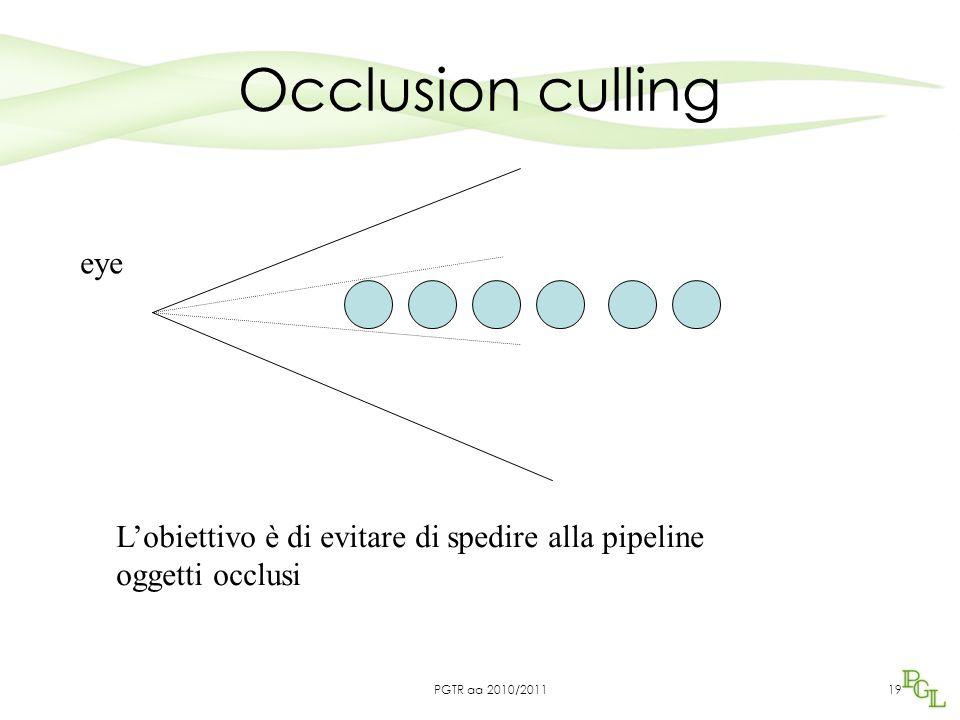 Occlusion culling 19 eye L'obiettivo è di evitare di spedire alla pipeline oggetti occlusi PGTR aa 2010/2011
