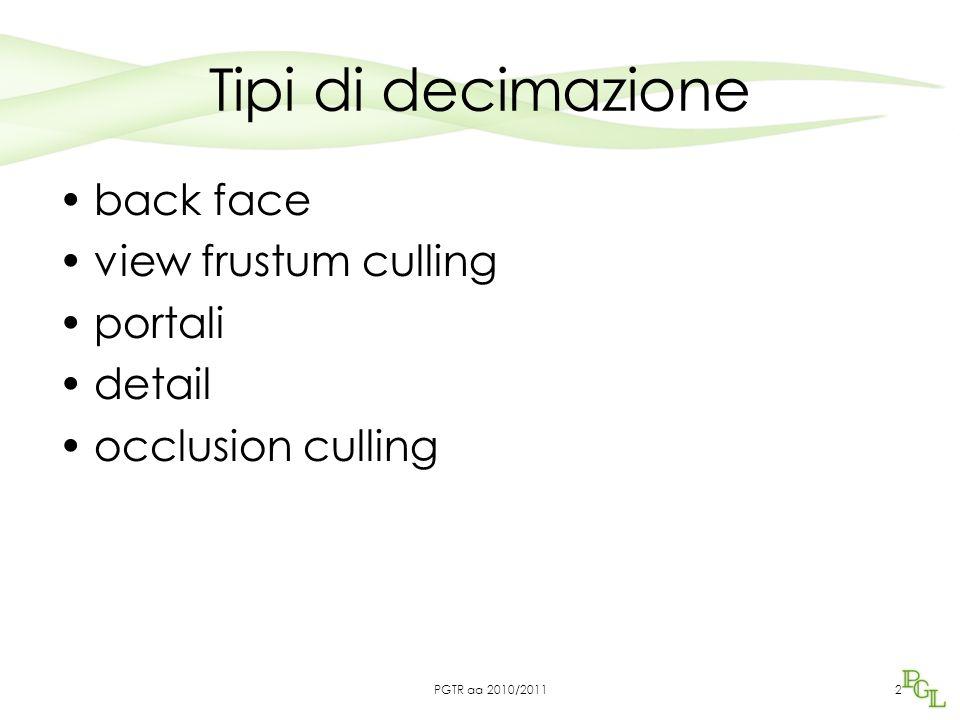 Tipi di decimazione back face view frustum culling portali detail occlusion culling 2PGTR aa 2010/2011