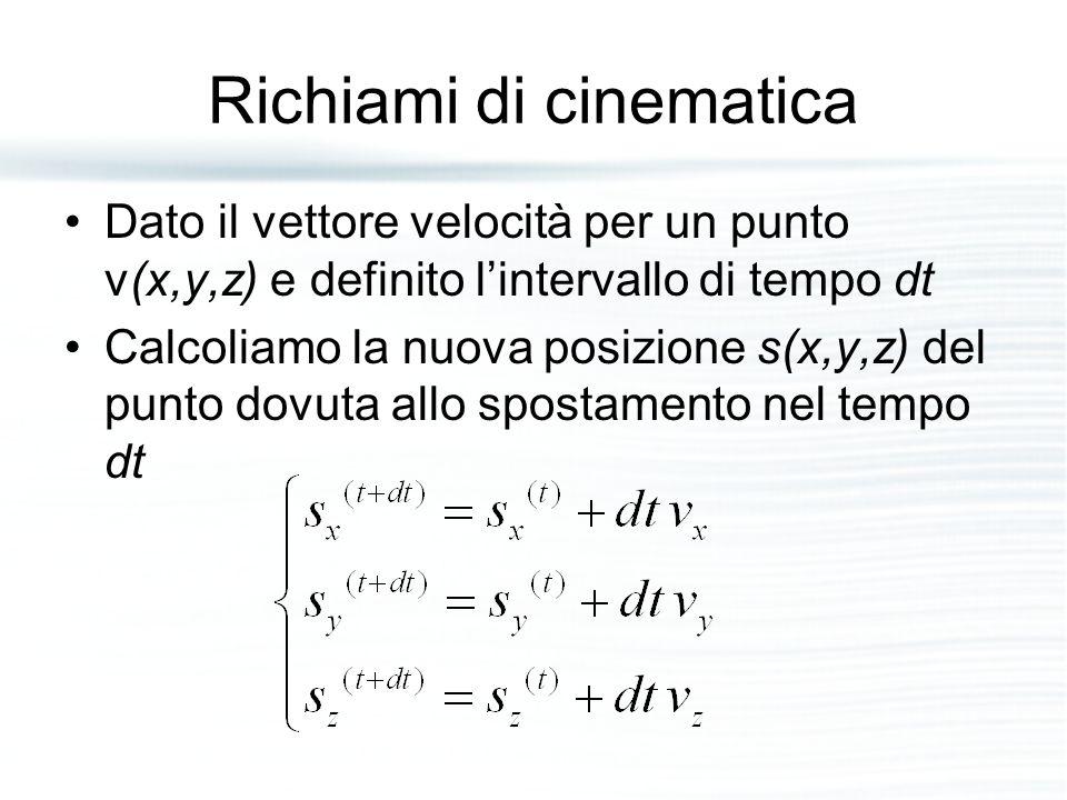 Richiami di cinematica Dato il vettore velocità per un punto v(x,y,z) e definito l'intervallo di tempo dt Calcoliamo la nuova posizione s(x,y,z) del p