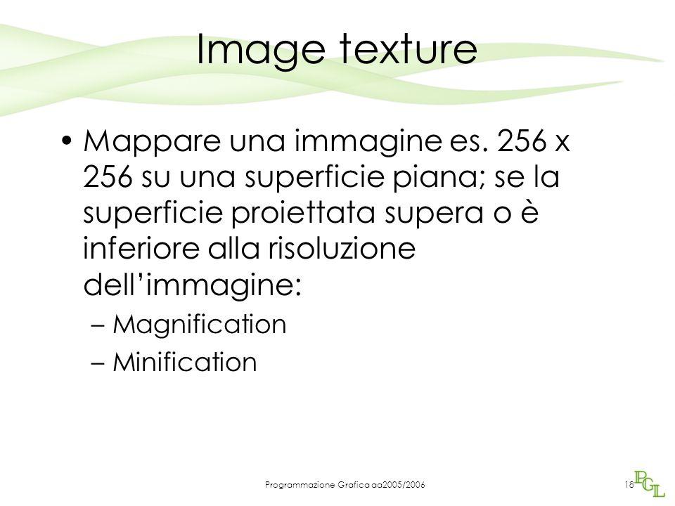 Programmazione Grafica aa2005/200618 Image texture Mappare una immagine es. 256 x 256 su una superficie piana; se la superficie proiettata supera o è