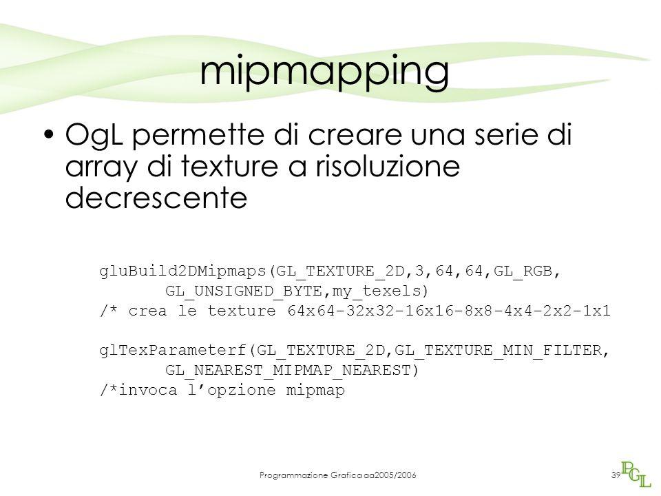 Programmazione Grafica aa2005/200639 mipmapping OgL permette di creare una serie di array di texture a risoluzione decrescente gluBuild2DMipmaps(GL_TEXTURE_2D,3,64,64,GL_RGB, GL_UNSIGNED_BYTE,my_texels) /* crea le texture 64x64-32x32-16x16-8x8-4x4-2x2-1x1 glTexParameterf(GL_TEXTURE_2D,GL_TEXTURE_MIN_FILTER, GL_NEAREST_MIPMAP_NEAREST) /*invoca l'opzione mipmap