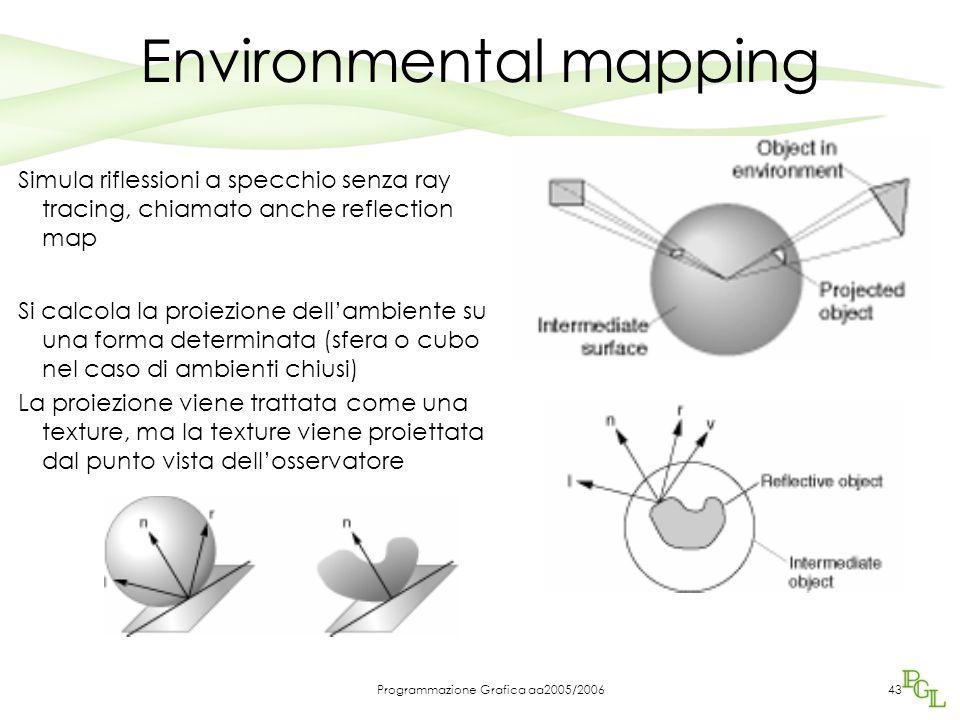 Programmazione Grafica aa2005/200643 Environmental mapping Simula riflessioni a specchio senza ray tracing, chiamato anche reflection map Si calcola la proiezione dell'ambiente su una forma determinata (sfera o cubo nel caso di ambienti chiusi) La proiezione viene trattata come una texture, ma la texture viene proiettata dal punto vista dell'osservatore