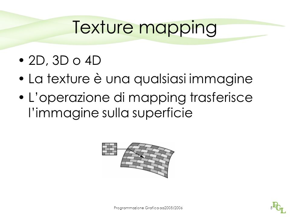 Programmazione Grafica aa2005/20065 Texture mapping 2D, 3D o 4D La texture è una qualsiasi immagine L'operazione di mapping trasferisce l'immagine sul