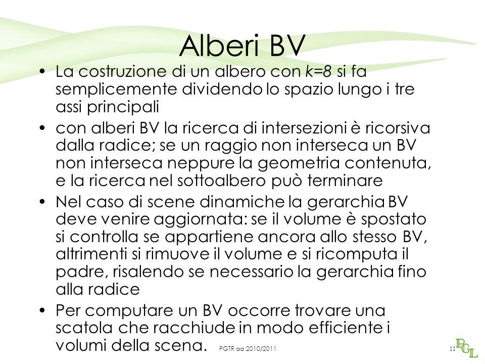 Alberi BV La costruzione di un albero con k=8 si fa semplicemente dividendo lo spazio lungo i tre assi principali con alberi BV la ricerca di intersezioni è ricorsiva dalla radice; se un raggio non interseca un BV non interseca neppure la geometria contenuta, e la ricerca nel sottoalbero può terminare Nel caso di scene dinamiche la gerarchia BV deve venire aggiornata: se il volume è spostato si controlla se appartiene ancora allo stesso BV, altrimenti si rimuove il volume e si ricomputa il padre, risalendo se necessario la gerarchia fino alla radice Per computare un BV occorre trovare una scatola che racchiude in modo efficiente i volumi della scena.