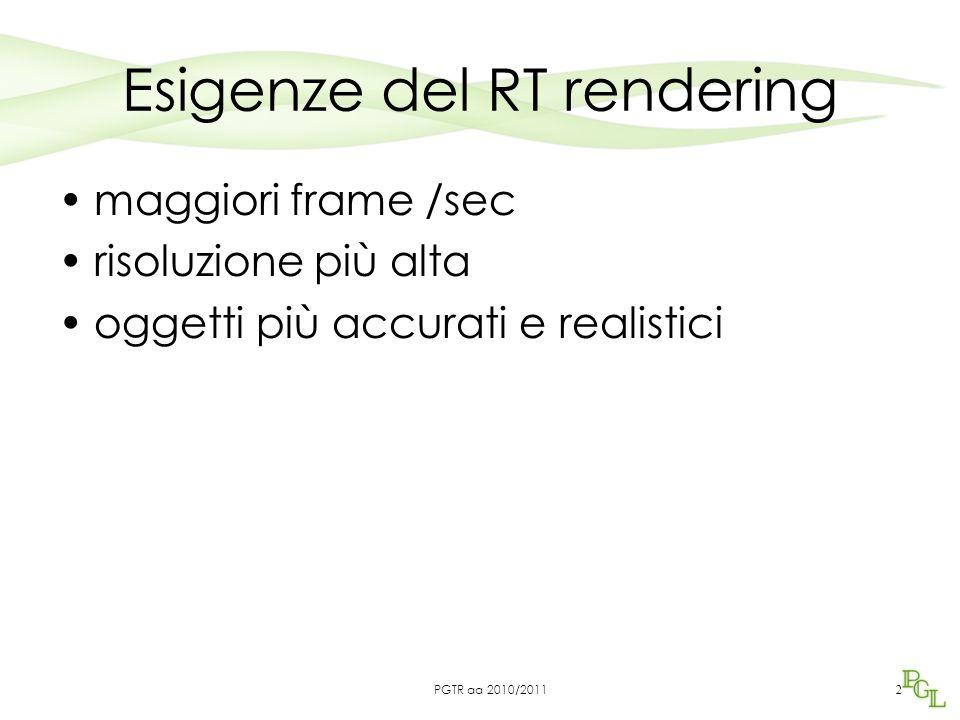 Esigenze del RT rendering maggiori frame /sec risoluzione più alta oggetti più accurati e realistici 2 PGTR aa 2010/2011