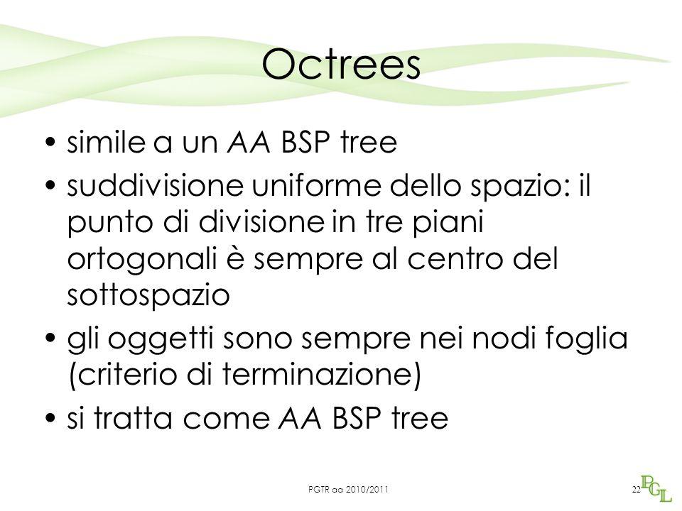 Octrees simile a un AA BSP tree suddivisione uniforme dello spazio: il punto di divisione in tre piani ortogonali è sempre al centro del sottospazio gli oggetti sono sempre nei nodi foglia (criterio di terminazione) si tratta come AA BSP tree 22 PGTR aa 2010/2011