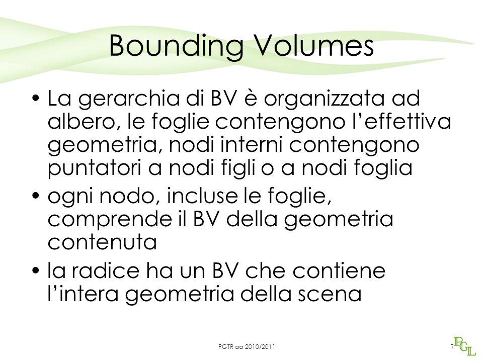 Bounding Volumes La gerarchia di BV è organizzata ad albero, le foglie contengono l'effettiva geometria, nodi interni contengono puntatori a nodi figli o a nodi foglia ogni nodo, incluse le foglie, comprende il BV della geometria contenuta la radice ha un BV che contiene l'intera geometria della scena 7 PGTR aa 2010/2011