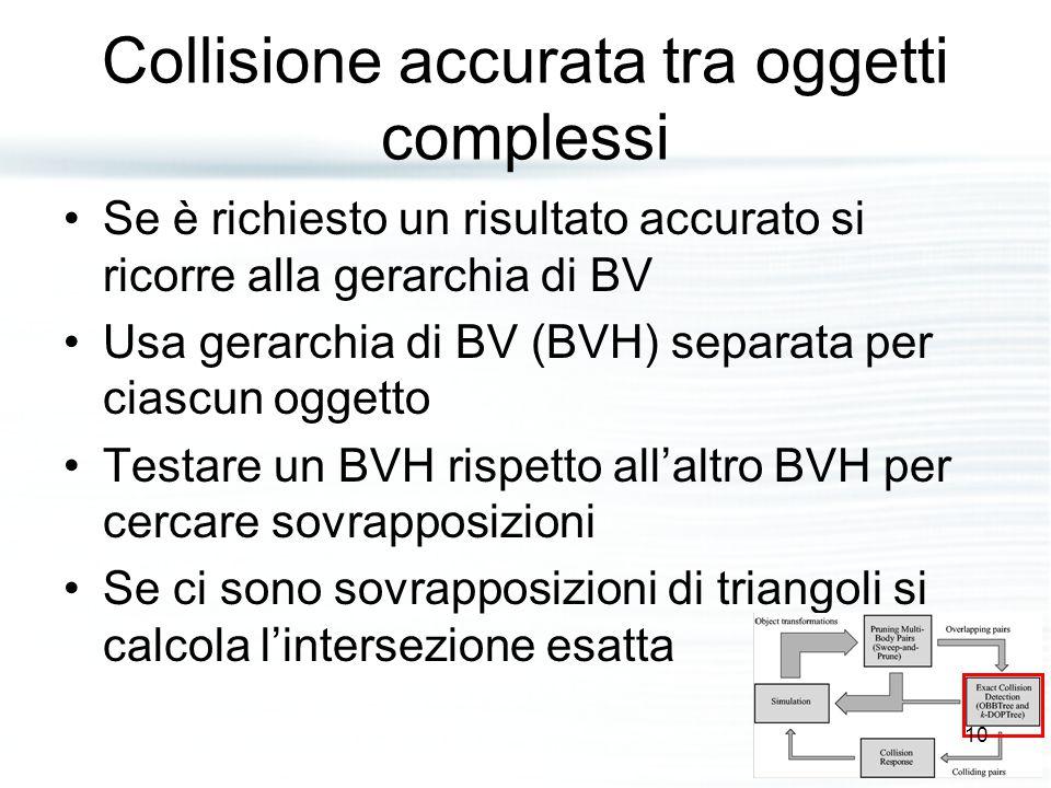 Collisione accurata tra oggetti complessi Se è richiesto un risultato accurato si ricorre alla gerarchia di BV Usa gerarchia di BV (BVH) separata per ciascun oggetto Testare un BVH rispetto all'altro BVH per cercare sovrapposizioni Se ci sono sovrapposizioni di triangoli si calcola l'intersezione esatta 10