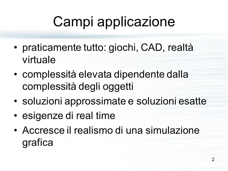 Campi applicazione praticamente tutto: giochi, CAD, realtà virtuale complessità elevata dipendente dalla complessità degli oggetti soluzioni approssimate e soluzioni esatte esigenze di real time Accresce il realismo di una simulazione grafica 2