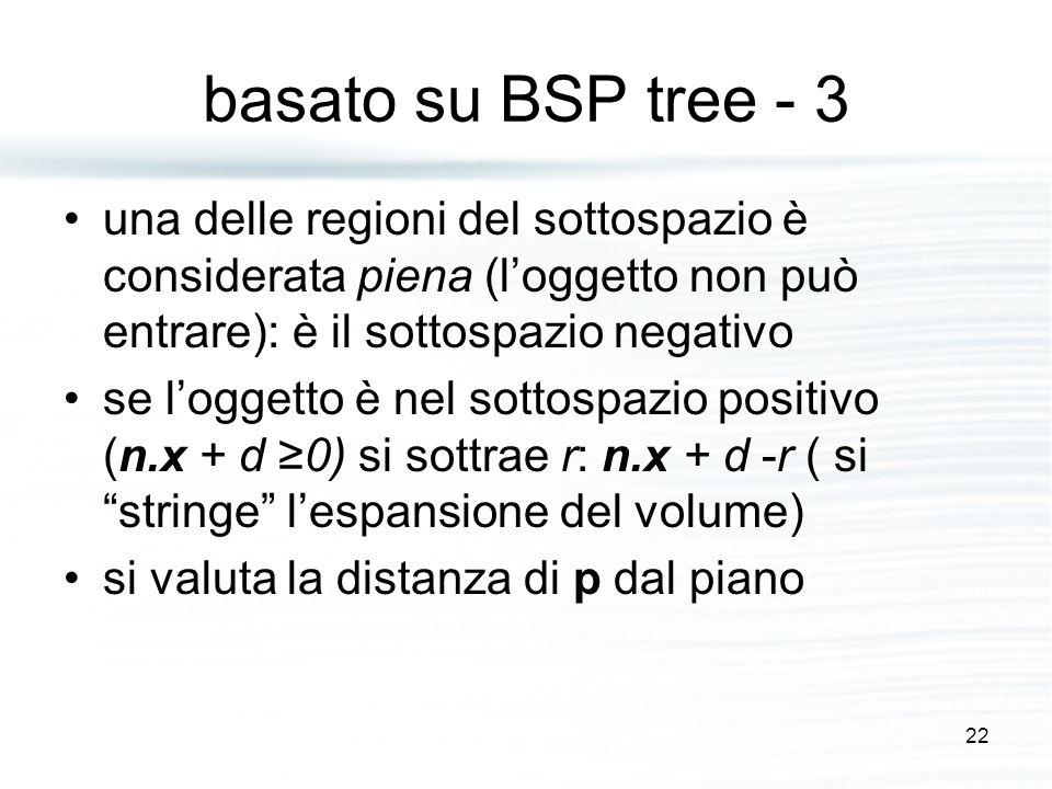 basato su BSP tree - 3 una delle regioni del sottospazio è considerata piena (l'oggetto non può entrare): è il sottospazio negativo se l'oggetto è nel sottospazio positivo (n.x + d ≥0) si sottrae r: n.x + d -r ( si stringe l'espansione del volume) si valuta la distanza di p dal piano 22