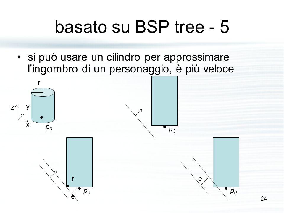 basato su BSP tree - 5 si può usare un cilindro per approssimare l'ingombro di un personaggio, è più veloce p0p0 r z y x p0p0 p0p0 t p0p0 e e 24