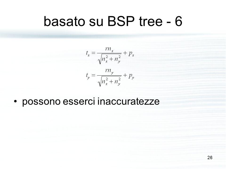 basato su BSP tree - 6 possono esserci inaccuratezze 26
