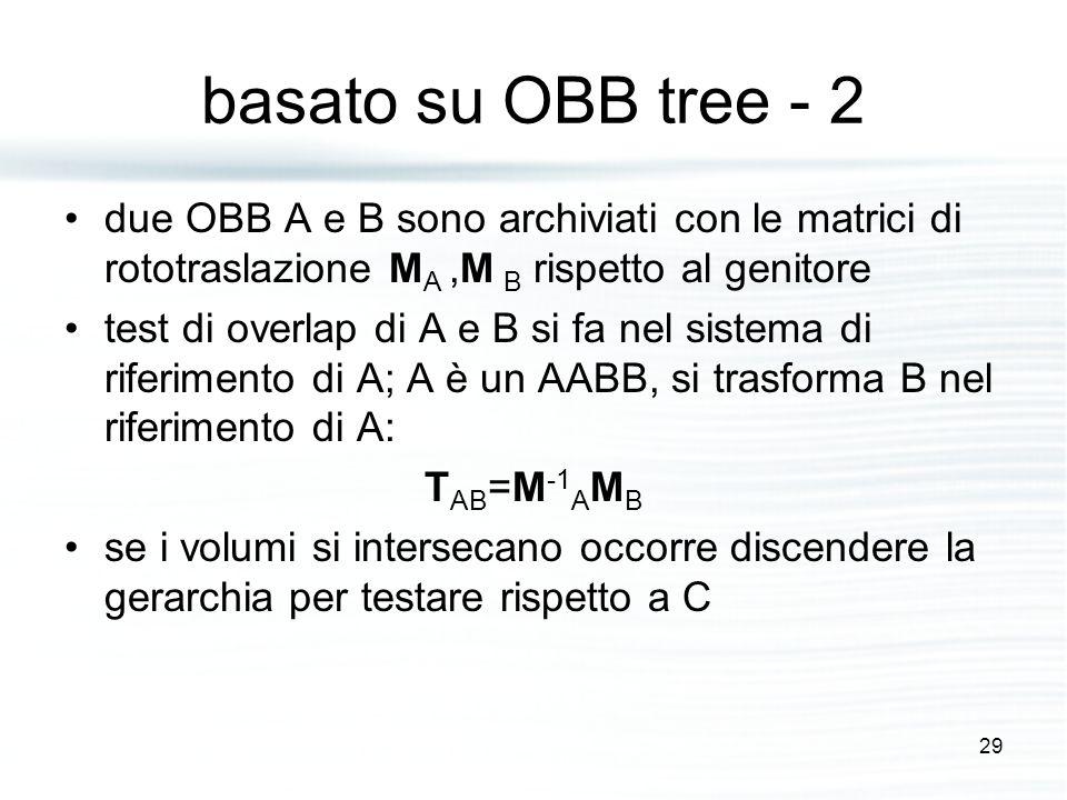basato su OBB tree - 2 due OBB A e B sono archiviati con le matrici di rototraslazione M A,M B rispetto al genitore test di overlap di A e B si fa nel sistema di riferimento di A; A è un AABB, si trasforma B nel riferimento di A: T AB =M -1 A M B se i volumi si intersecano occorre discendere la gerarchia per testare rispetto a C 29