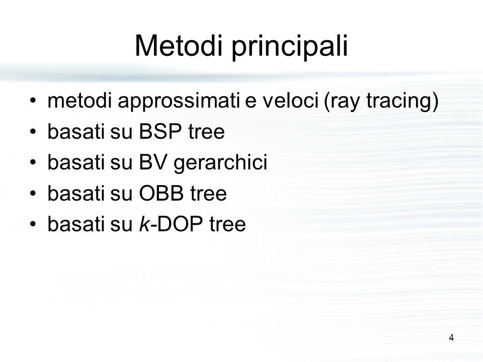 Metodi principali metodi approssimati e veloci (ray tracing) basati su BSP tree basati su BV gerarchici basati su OBB tree basati su k-DOP tree 4
