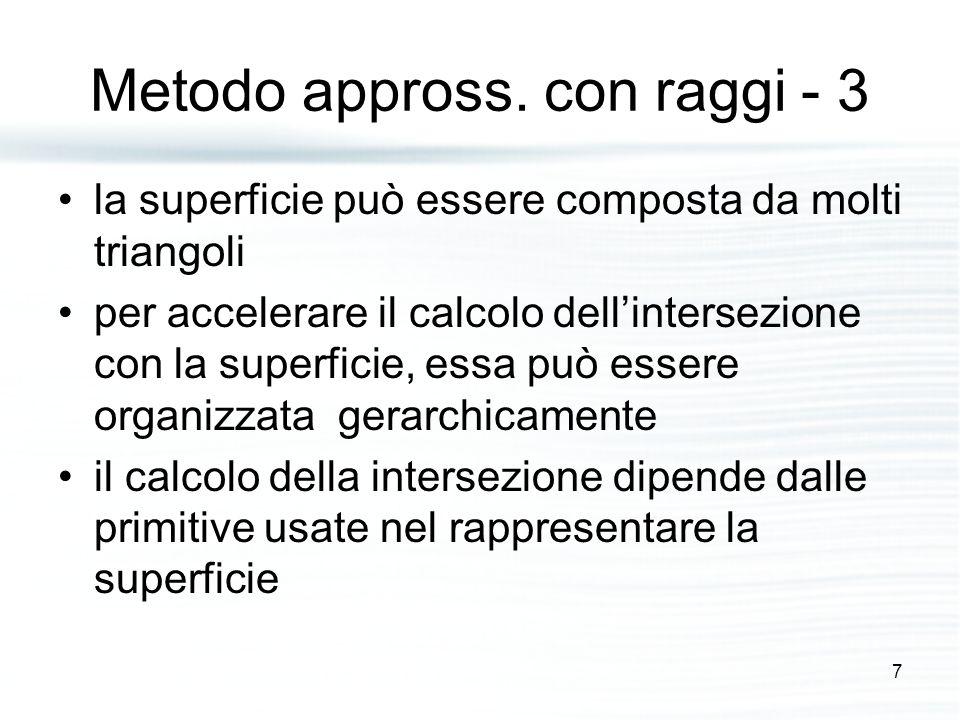 Metodo appross. con raggi - 3 la superficie può essere composta da molti triangoli per accelerare il calcolo dell'intersezione con la superficie, essa