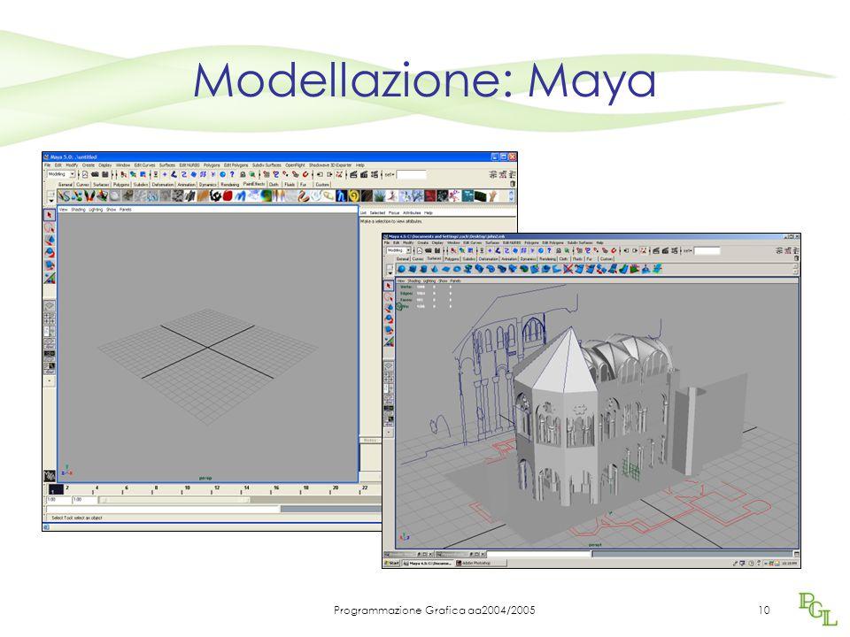 Programmazione Grafica aa2004/200510 Modellazione: Maya