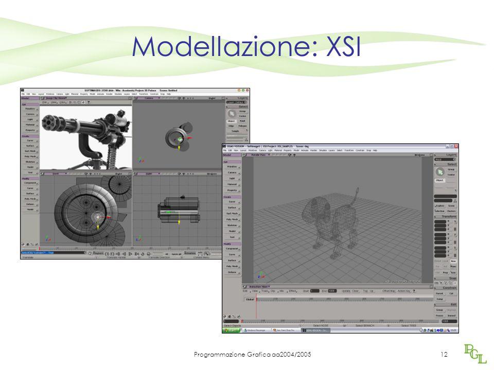Programmazione Grafica aa2004/200512 Modellazione: XSI