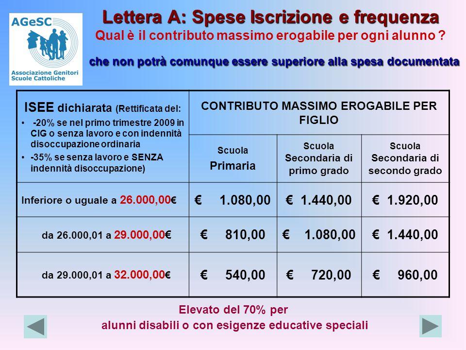 Lettera A: Spese Iscrizione e frequenza che non potrà comunque essere superiore alla spesa documentata Lettera A: Spese Iscrizione e frequenza Qual è