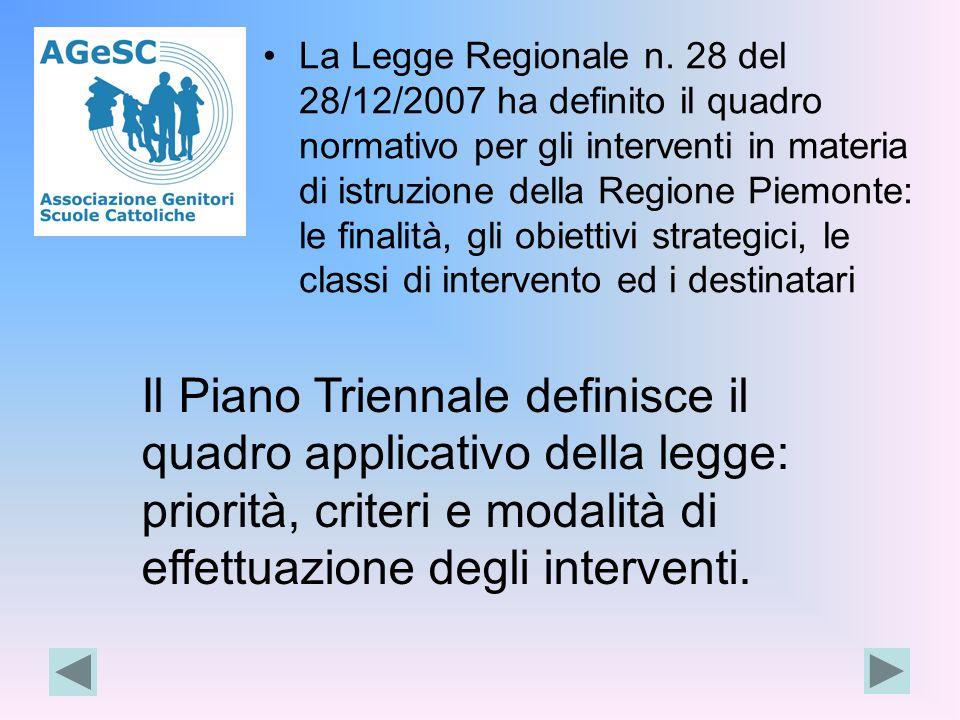 La Legge Regionale n. 28 del 28/12/2007 ha definito il quadro normativo per gli interventi in materia di istruzione della Regione Piemonte: le finalit