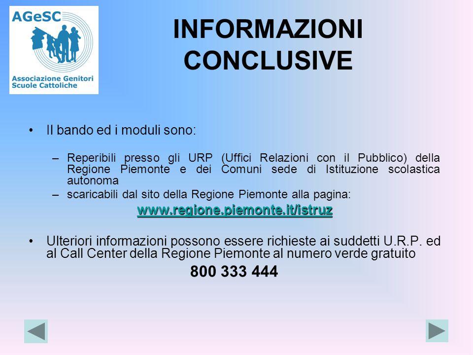 INFORMAZIONI CONCLUSIVE Il bando ed i moduli sono: –Reperibili presso gli URP (Uffici Relazioni con il Pubblico) della Regione Piemonte e dei Comuni s