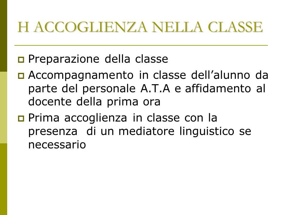 H ACCOGLIENZA NELLA CLASSE  Preparazione della classe  Accompagnamento in classe dell'alunno da parte del personale A.T.A e affidamento al docente d
