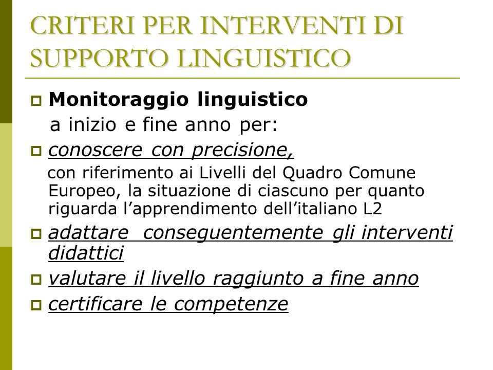  Monitoraggio linguistico a inizio e fine anno per:  conoscere con precisione, con riferimento ai Livelli del Quadro Comune Europeo, la situazione d