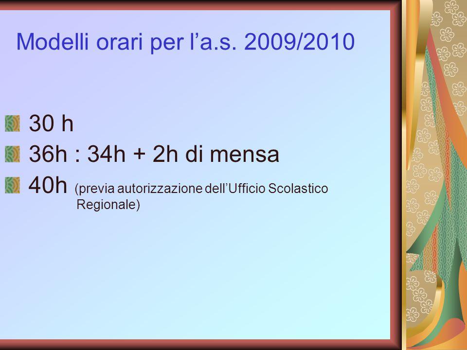 Modelli orari per l'a.s. 2009/2010 30 h 36h : 34h + 2h di mensa 40h (previa autorizzazione dell'Ufficio Scolastico Regionale)