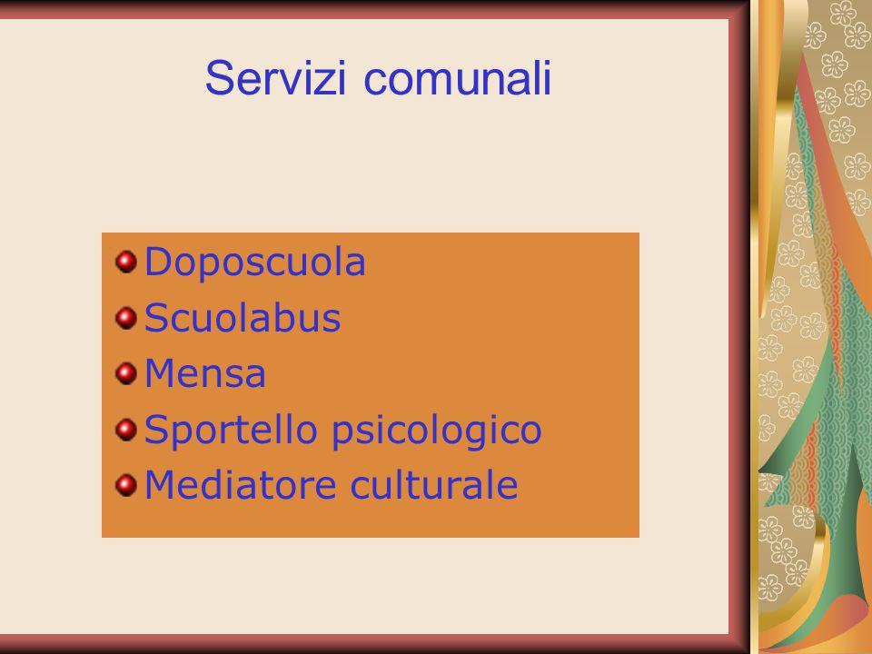 Doposcuola Scuolabus Mensa Sportello psicologico Mediatore culturale Servizi comunali