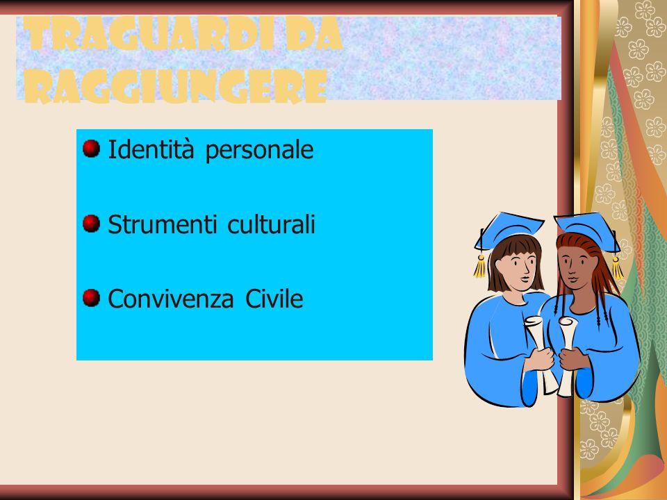 Traguardi da raggiungere Identità personale Strumenti culturali Convivenza Civile