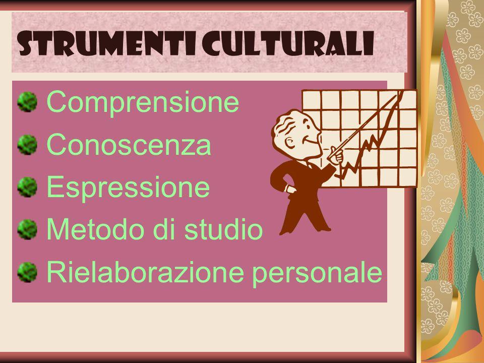 Strumenti culturali Comprensione Conoscenza Espressione Metodo di studio Rielaborazione personale