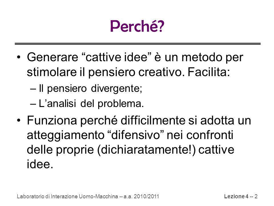Perché.Generare cattive idee è un metodo per stimolare il pensiero creativo.