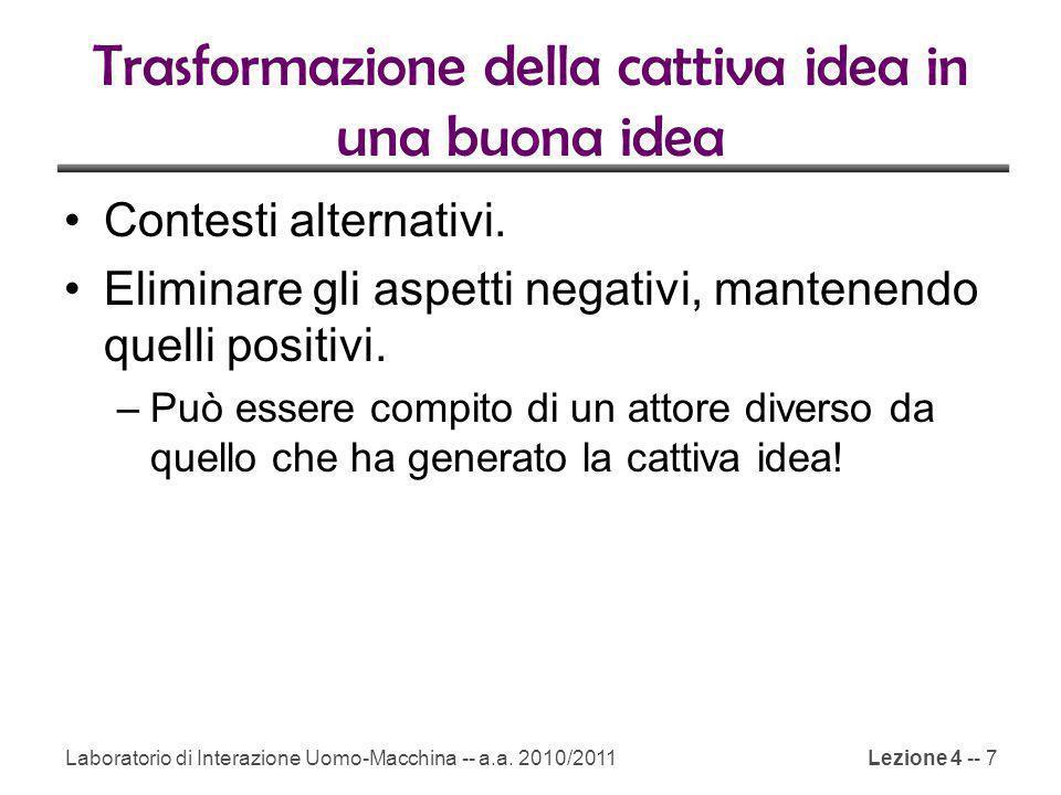 Trasformazione della cattiva idea in una buona idea Contesti alternativi.