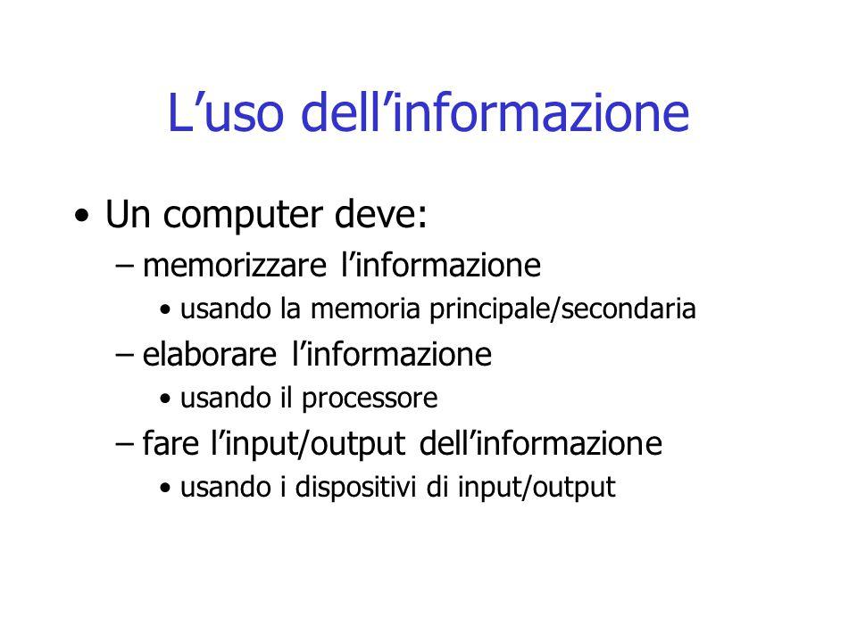 L'uso dell'informazione Un computer deve: –memorizzare l'informazione usando la memoria principale/secondaria –elaborare l'informazione usando il proc