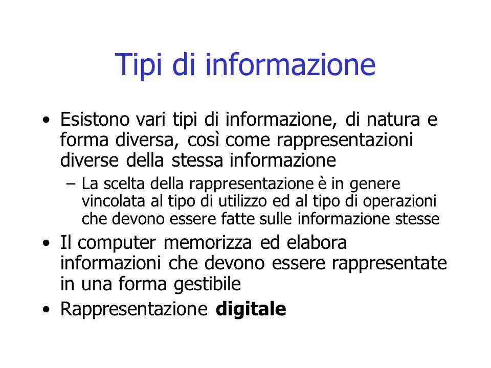 Tipi di informazione Esistono vari tipi di informazione, di natura e forma diversa, così come rappresentazioni diverse della stessa informazione –La s
